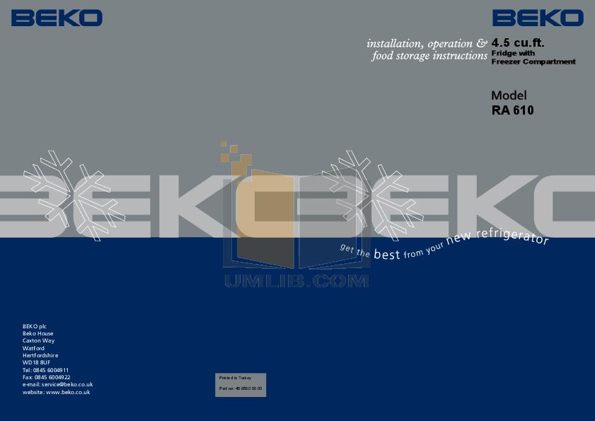 pdf for Beko Freezer RA610 manual
